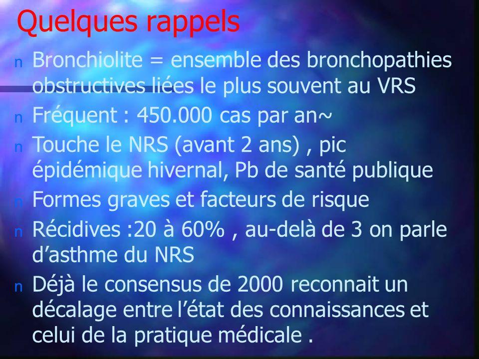 Quelques rappels Bronchiolite = ensemble des bronchopathies obstructives liées le plus souvent au VRS.