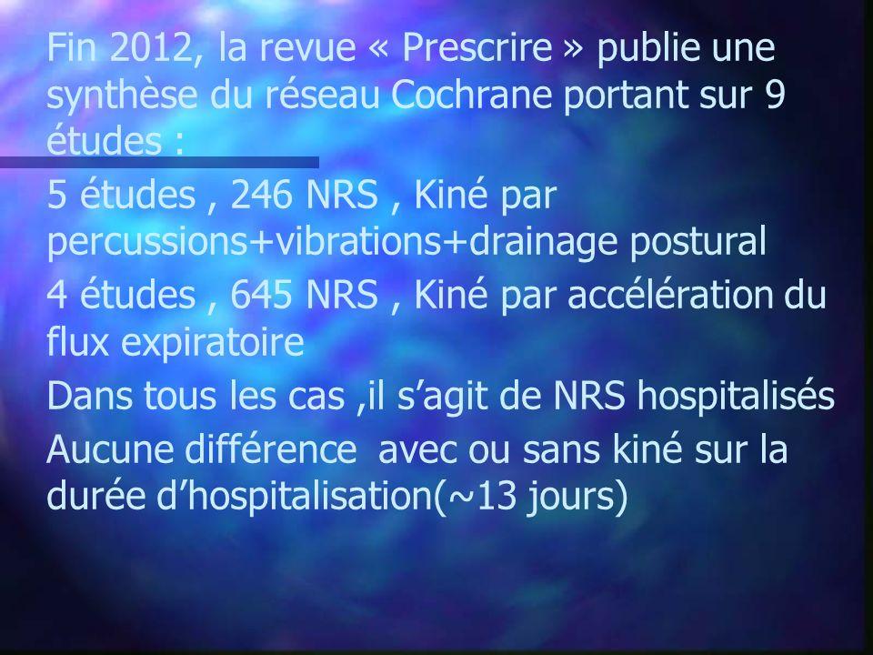 Fin 2012, la revue « Prescrire » publie une synthèse du réseau Cochrane portant sur 9 études :