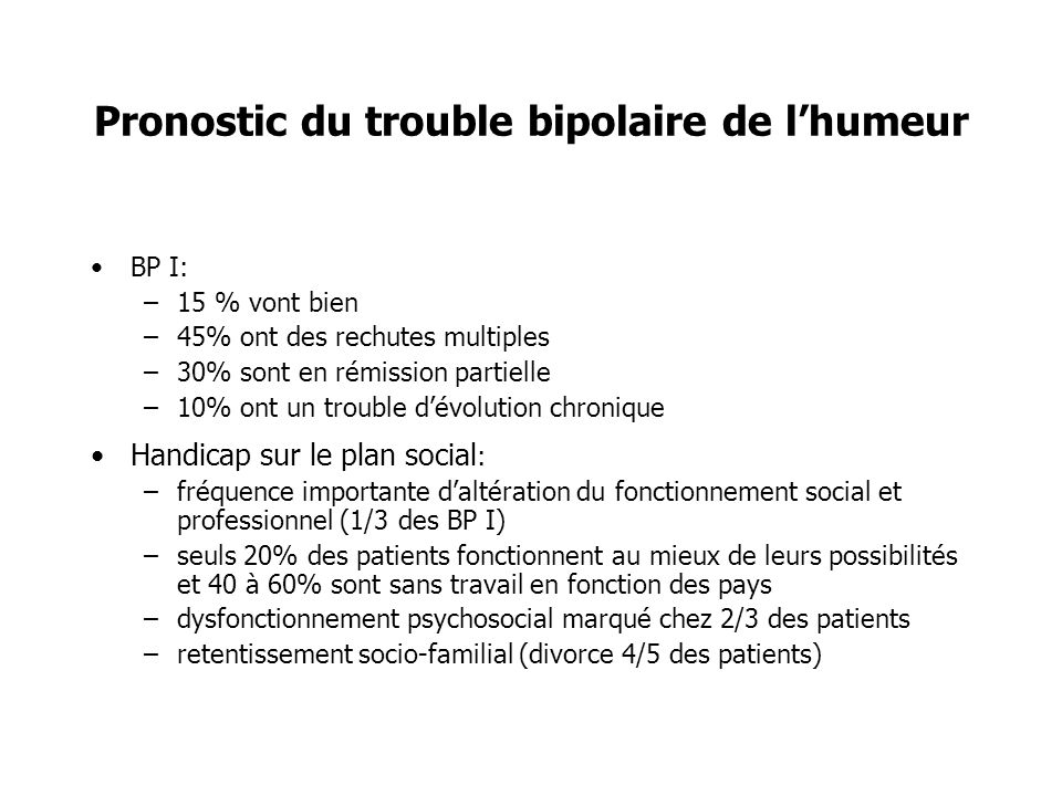 Pronostic du trouble bipolaire de l'humeur