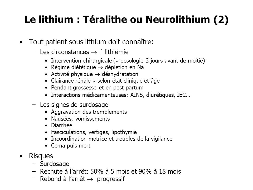 Le lithium : Téralithe ou Neurolithium (2)