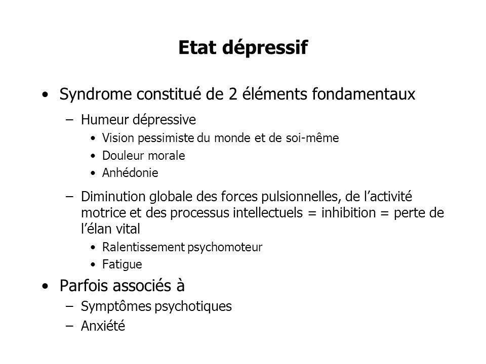 Etat dépressif Syndrome constitué de 2 éléments fondamentaux