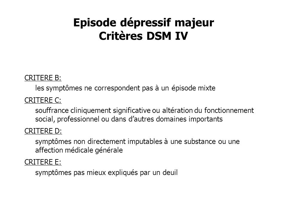 Episode dépressif majeur Critères DSM IV