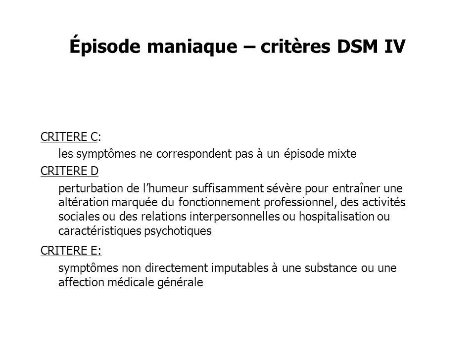 Épisode maniaque – critères DSM IV