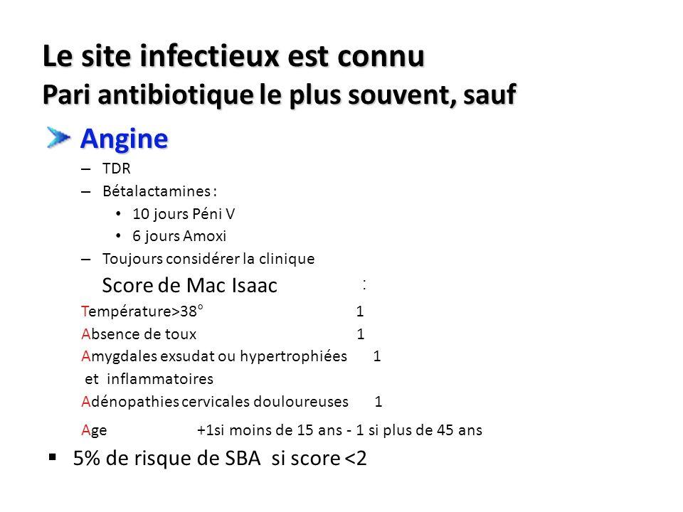 Le site infectieux est connu Pari antibiotique le plus souvent, sauf