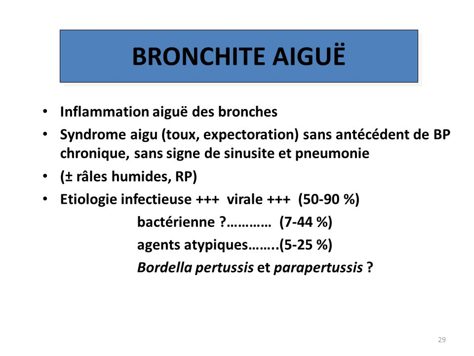 BRONCHITE AIGUË Inflammation aiguë des bronches