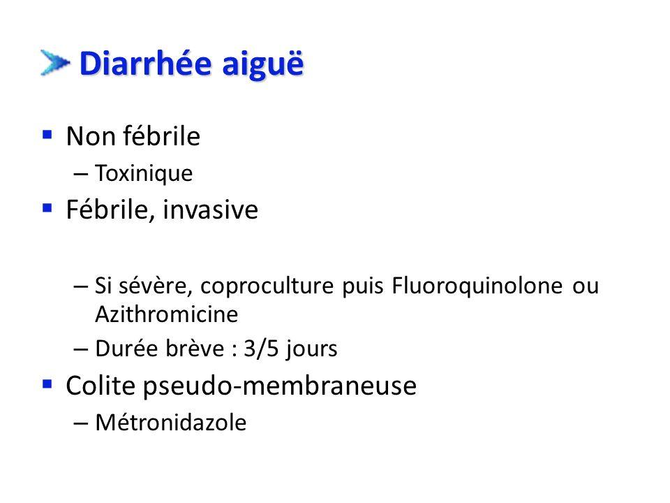 Diarrhée aiguë Non fébrile Fébrile, invasive Colite pseudo-membraneuse