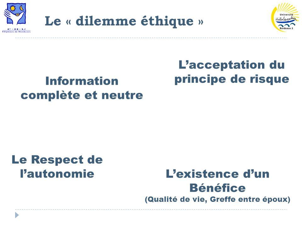 Le « dilemme éthique » L'acceptation du principe de risque