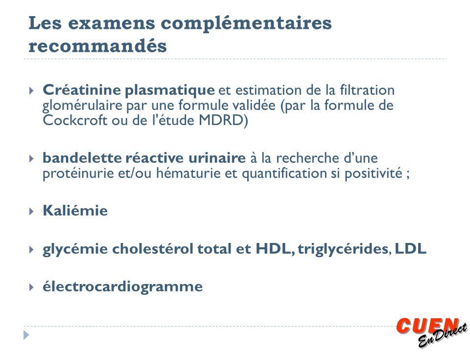 Les examens complémentaires recommandés