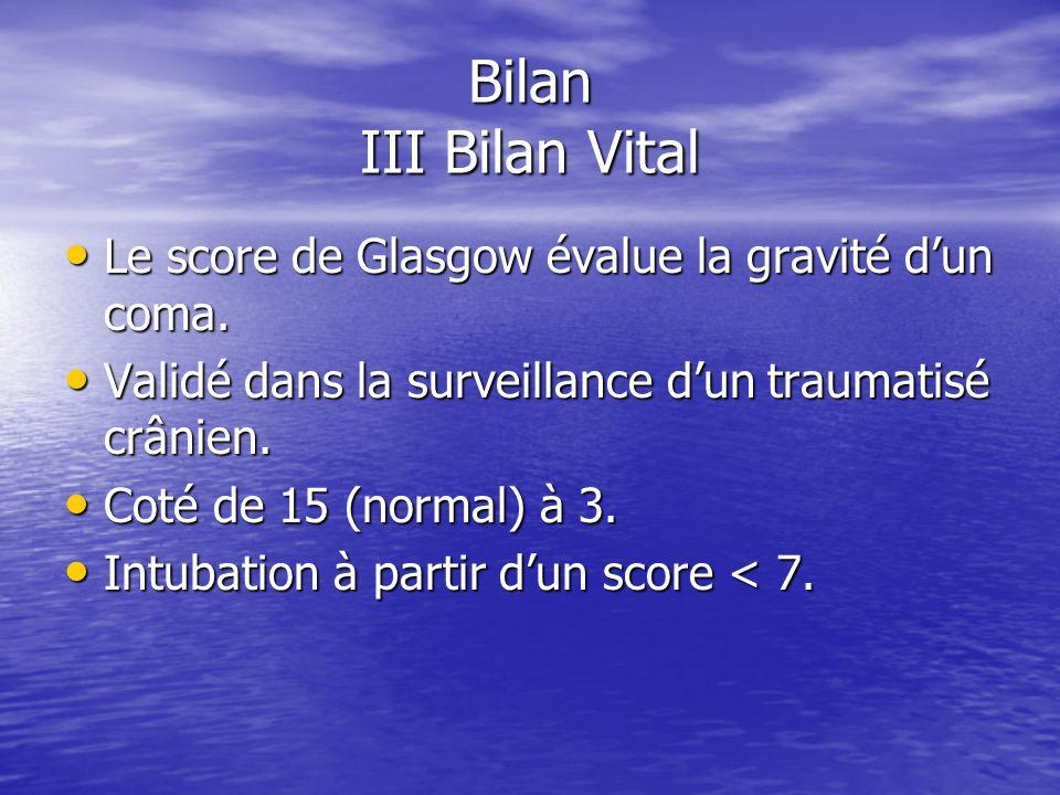 Bilan III Bilan Vital Le score de Glasgow évalue la gravité d'un coma.