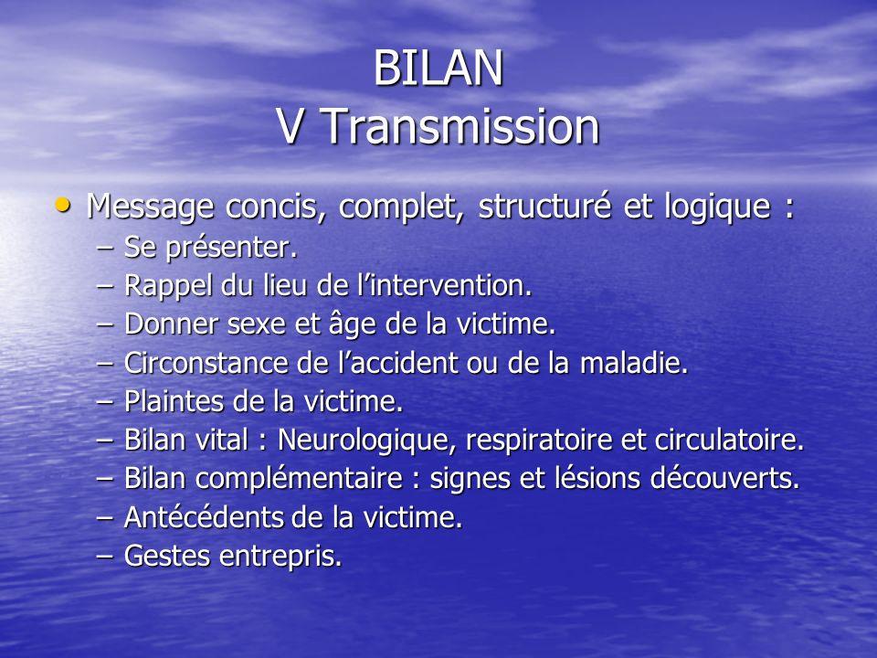 BILAN V Transmission Message concis, complet, structuré et logique :