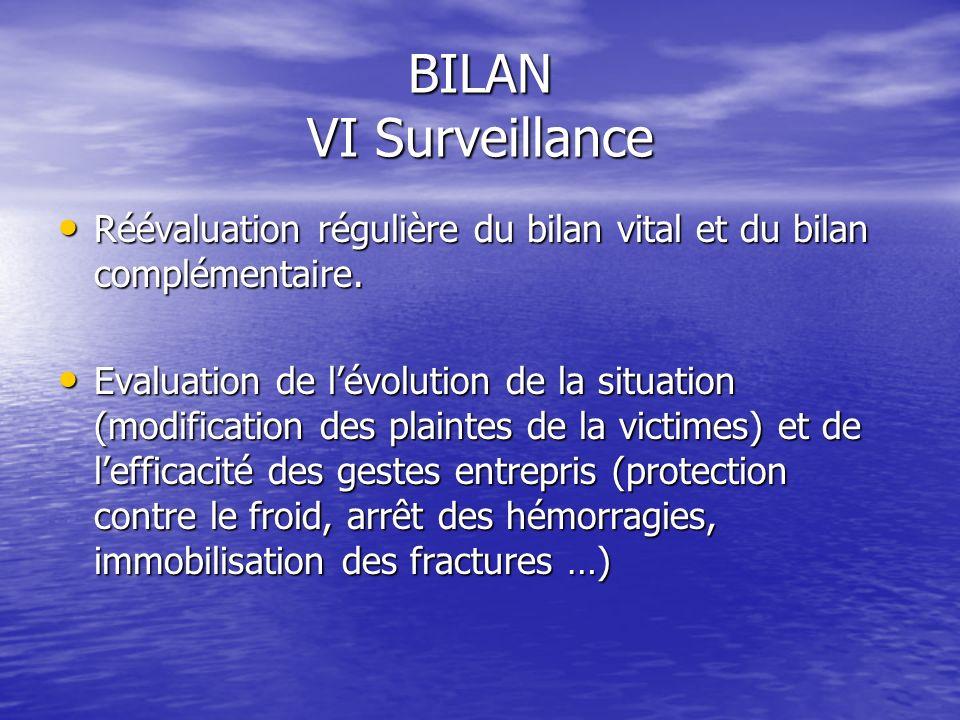 BILAN VI Surveillance Réévaluation régulière du bilan vital et du bilan complémentaire.