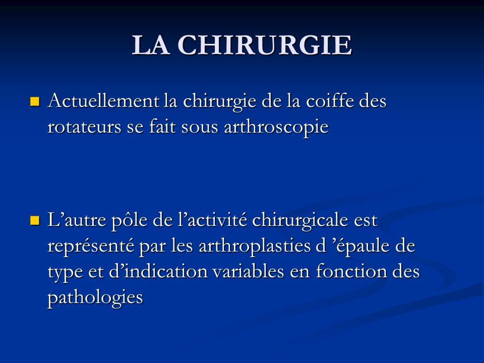 LA CHIRURGIE Actuellement la chirurgie de la coiffe des rotateurs se fait sous arthroscopie.