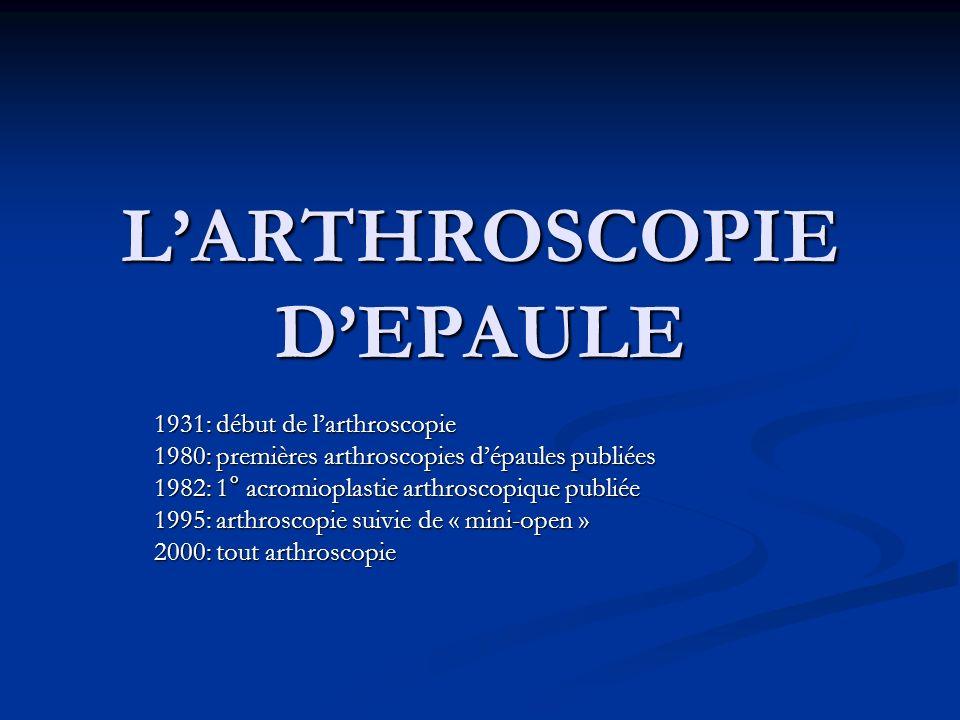 L'ARTHROSCOPIE D'EPAULE