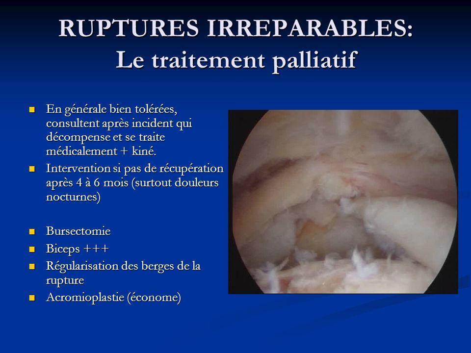 RUPTURES IRREPARABLES: Le traitement palliatif