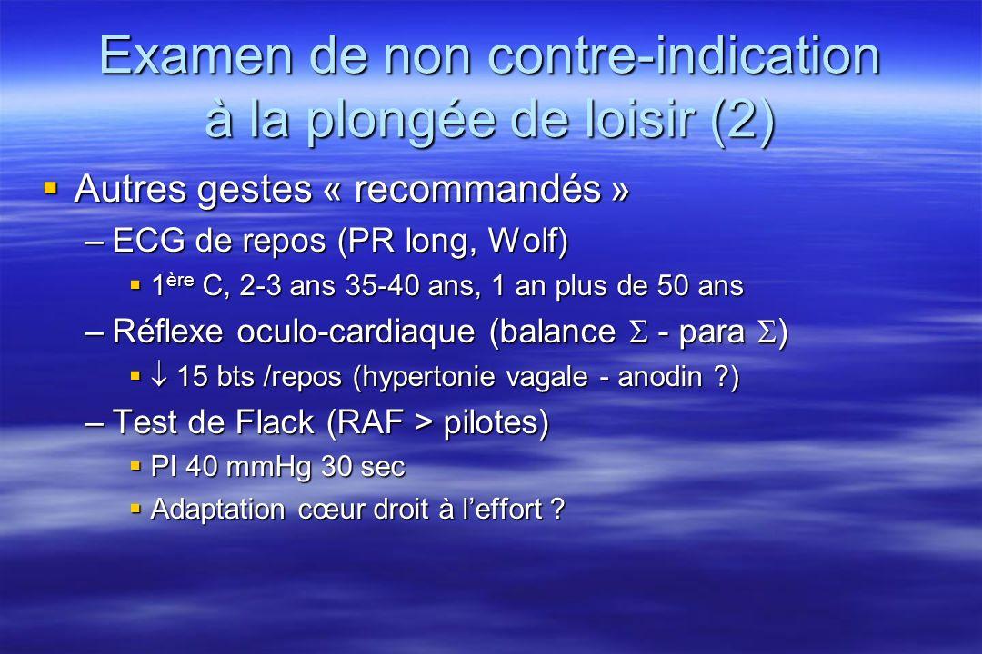 Examen de non contre-indication à la plongée de loisir (2)