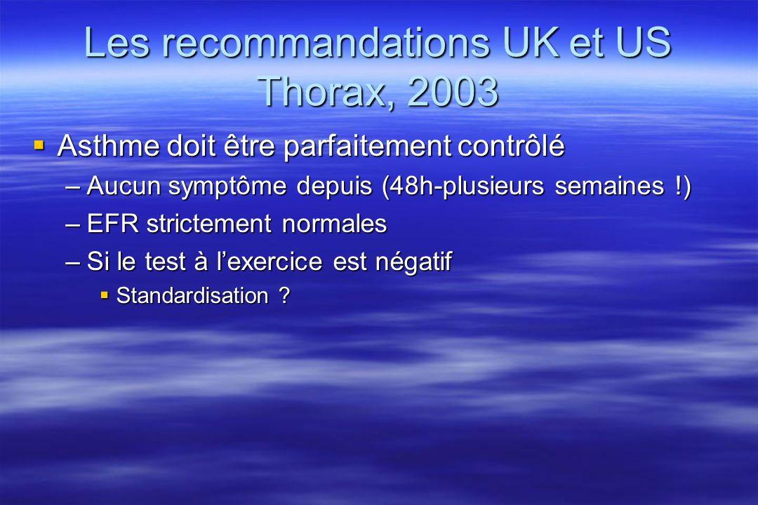 Les recommandations UK et US Thorax, 2003
