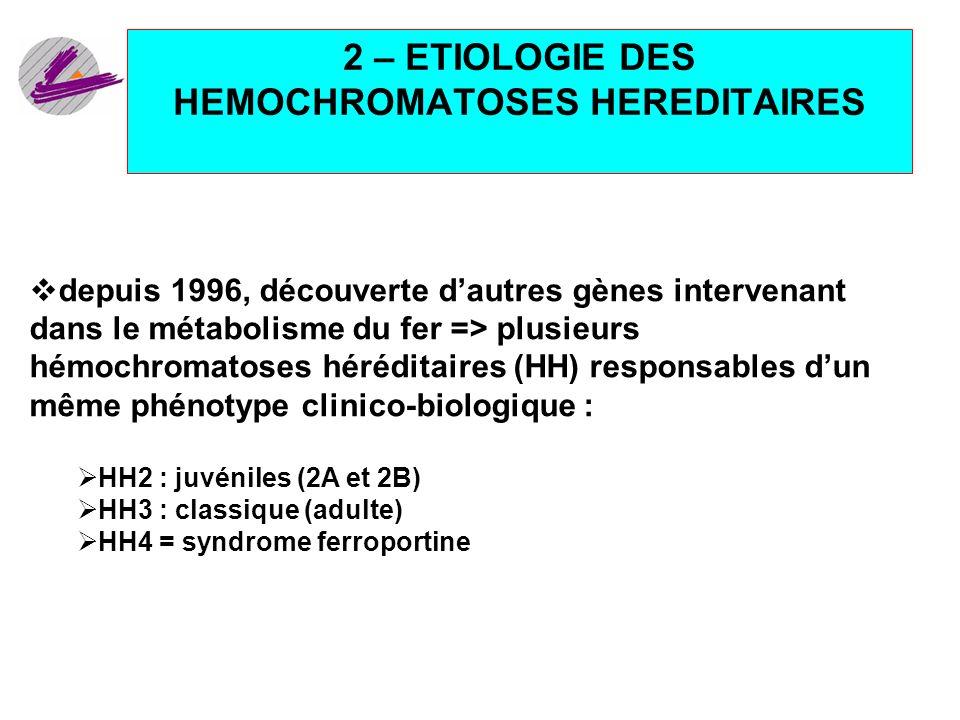 2 – ETIOLOGIE DES HEMOCHROMATOSES HEREDITAIRES