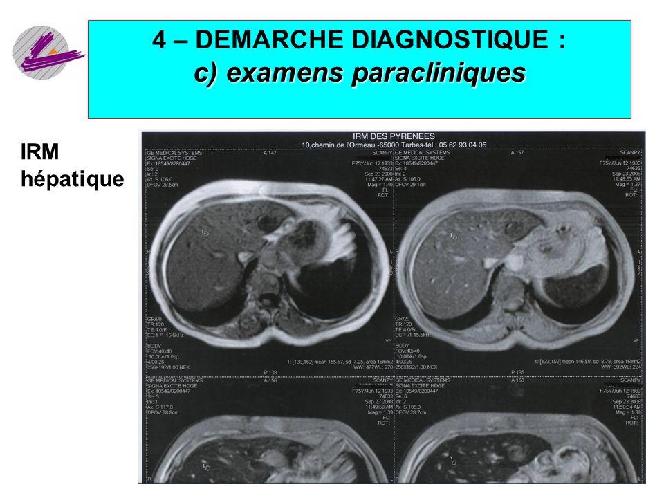 4 – DEMARCHE DIAGNOSTIQUE : c) examens paracliniques