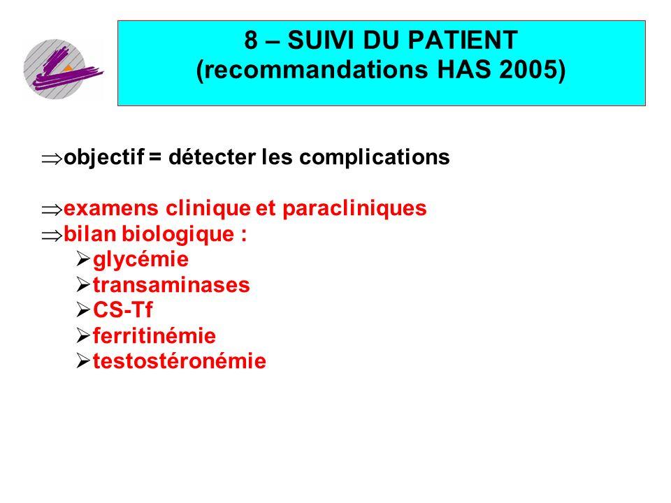 8 – SUIVI DU PATIENT (recommandations HAS 2005)