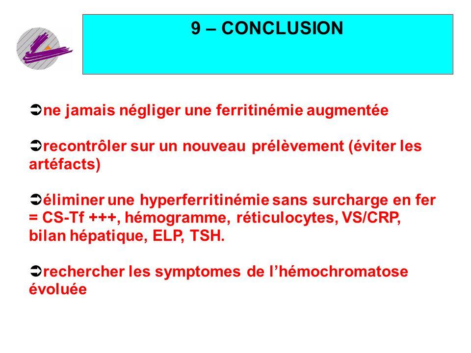 9 – CONCLUSION ne jamais négliger une ferritinémie augmentée