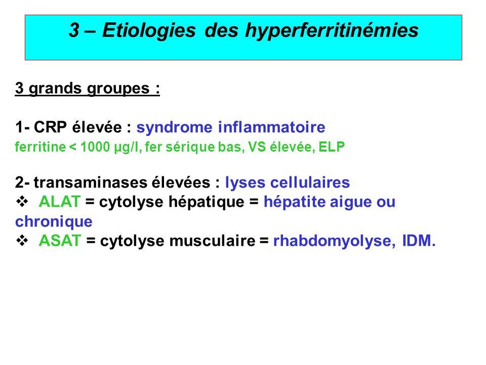 3 – Etiologies des hyperferritinémies