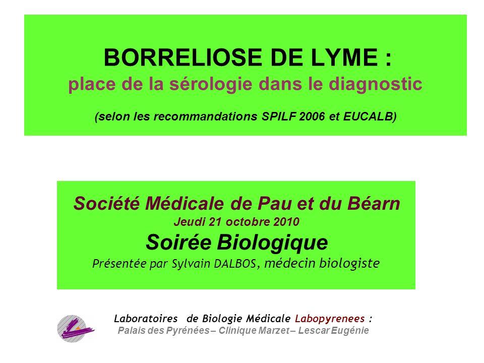 BORRELIOSE DE LYME : place de la sérologie dans le diagnostic (selon les recommandations SPILF 2006 et EUCALB)