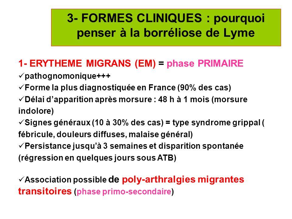 3- FORMES CLINIQUES : pourquoi penser à la borréliose de Lyme