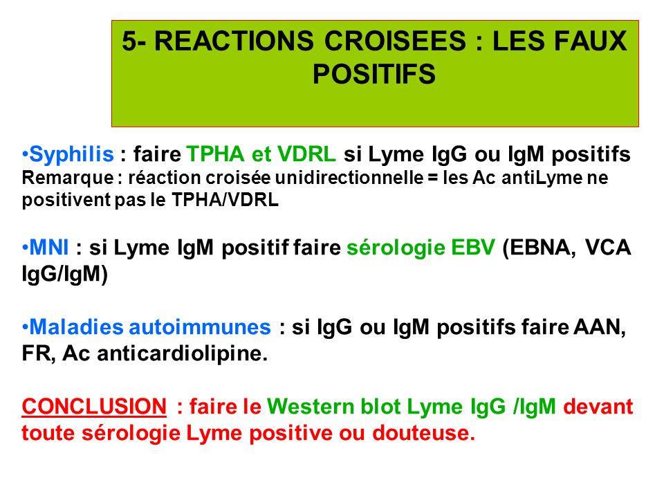 5- REACTIONS CROISEES : LES FAUX POSITIFS