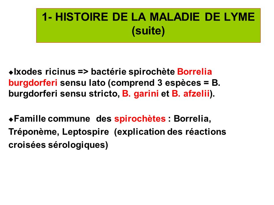 1- HISTOIRE DE LA MALADIE DE LYME (suite)