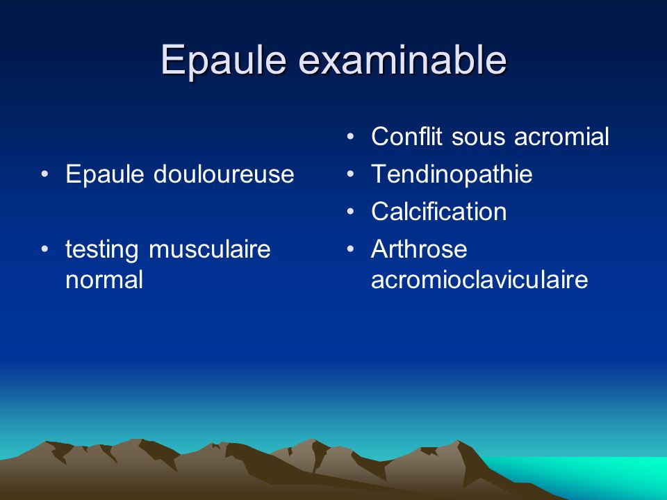 Epaule examinable Epaule douloureuse testing musculaire normal