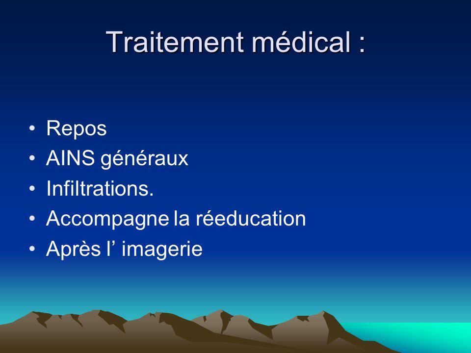 Traitement médical : Repos AINS généraux Infiltrations.