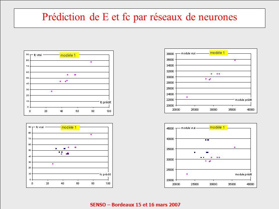 Prédiction de E et fc par réseaux de neurones