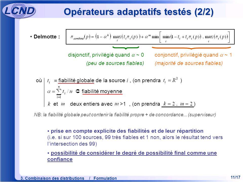 Opérateurs adaptatifs testés (2/2)