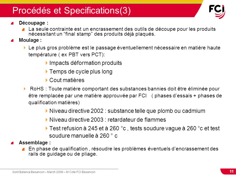Procédés et Specifications(3)