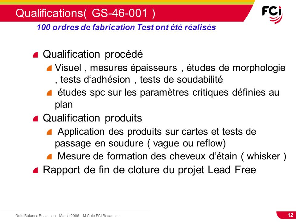 Qualifications( GS-46-001 )