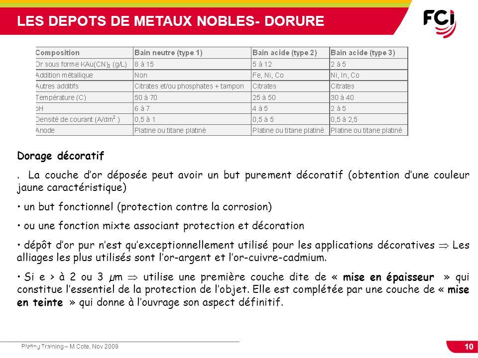 LES DEPOTS DE METAUX NOBLES- DORURE