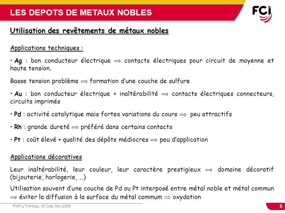 LES DEPOTS DE METAUX NOBLES