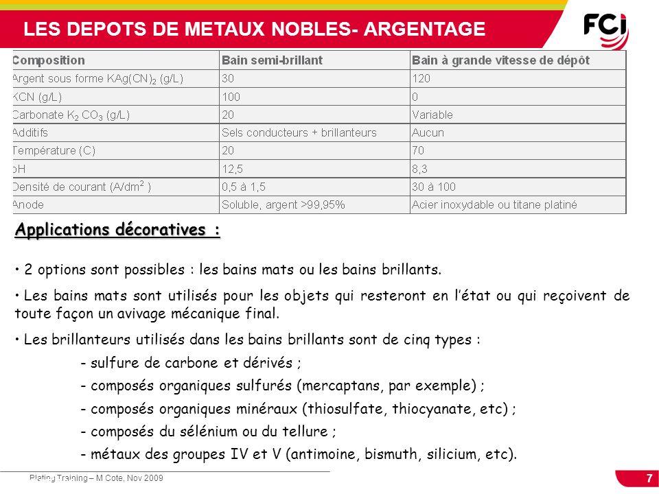 LES DEPOTS DE METAUX NOBLES- ARGENTAGE