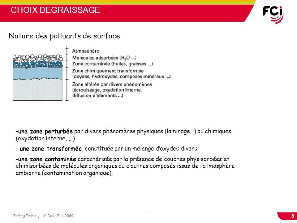 CHOIX DEGRAISSAGE Nature des polluants de surface