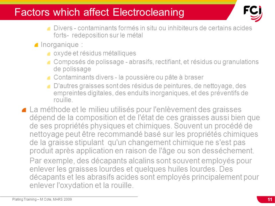 Factors which affect Electrocleaning