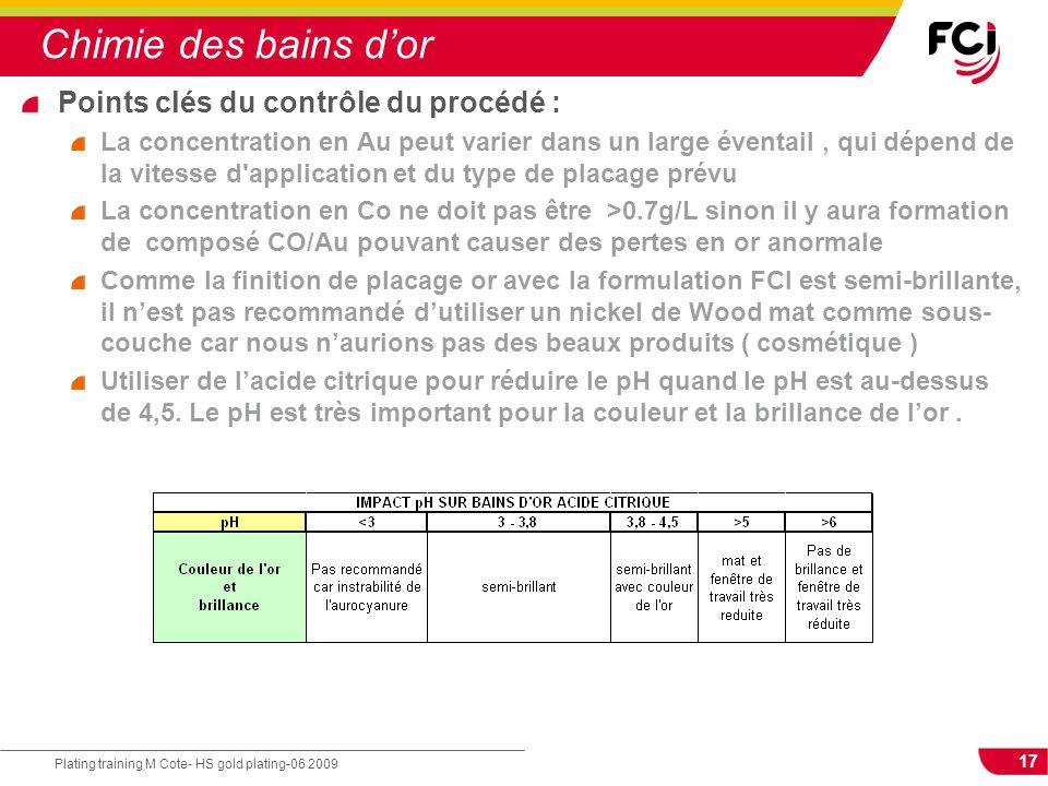 Chimie des bains d'or Points clés du contrôle du procédé :