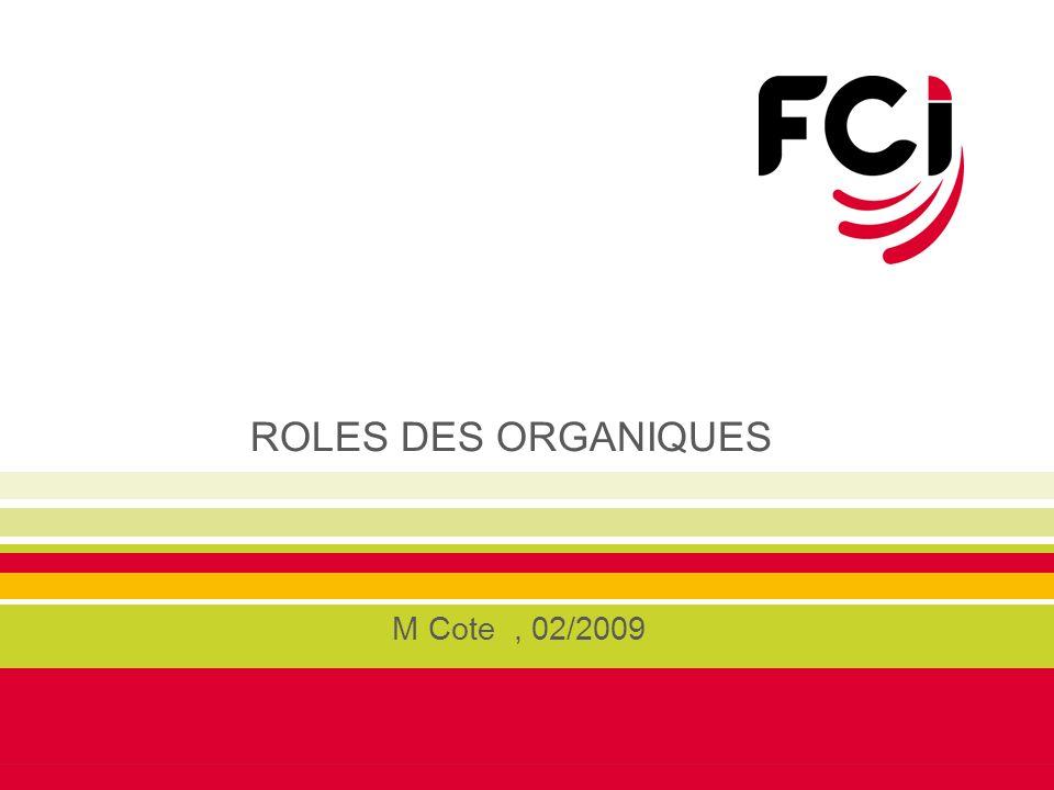 ROLES DES ORGANIQUES M Cote , 02/2009