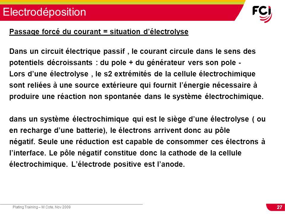 Electrodéposition Passage forcé du courant = situation d'électrolyse