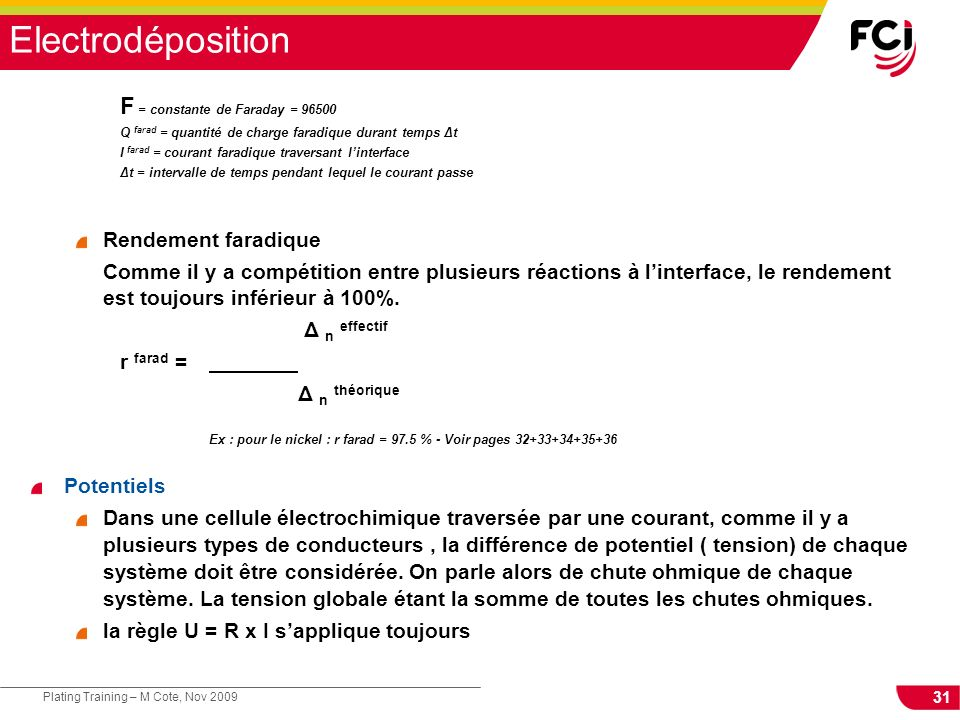 Electrodéposition F = constante de Faraday = 96500 Rendement faradique