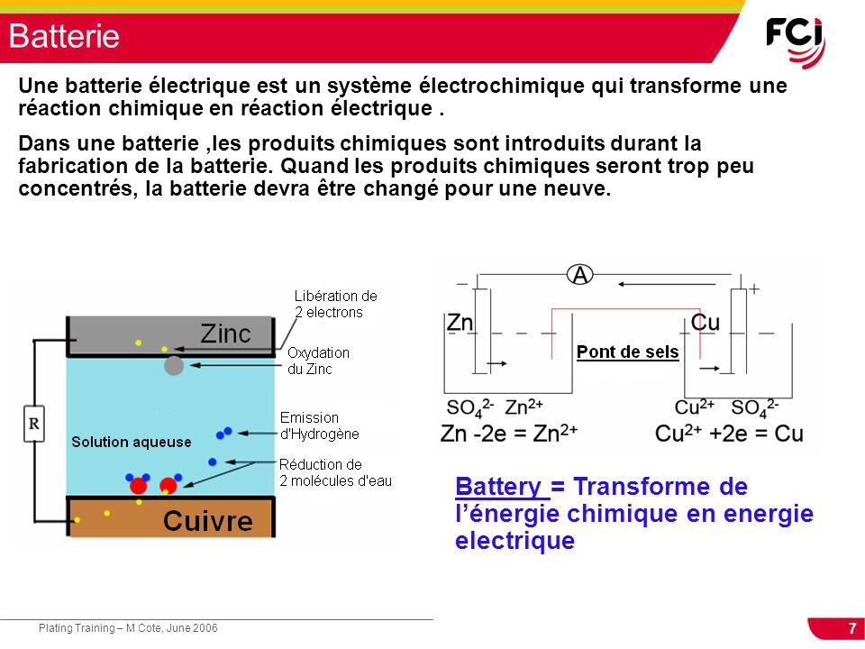 Battery = Transforme de l'énergie chimique en energie electrique