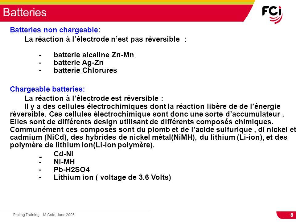 La réaction à l'électrode n'est pas réversible :