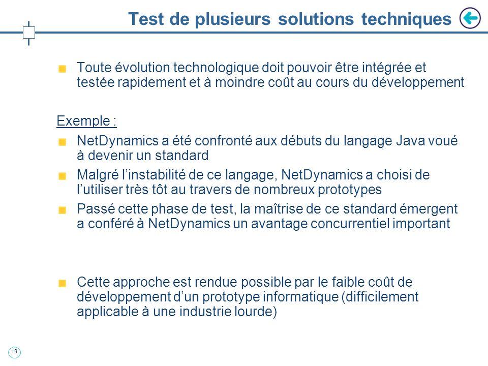 Test de plusieurs solutions techniques