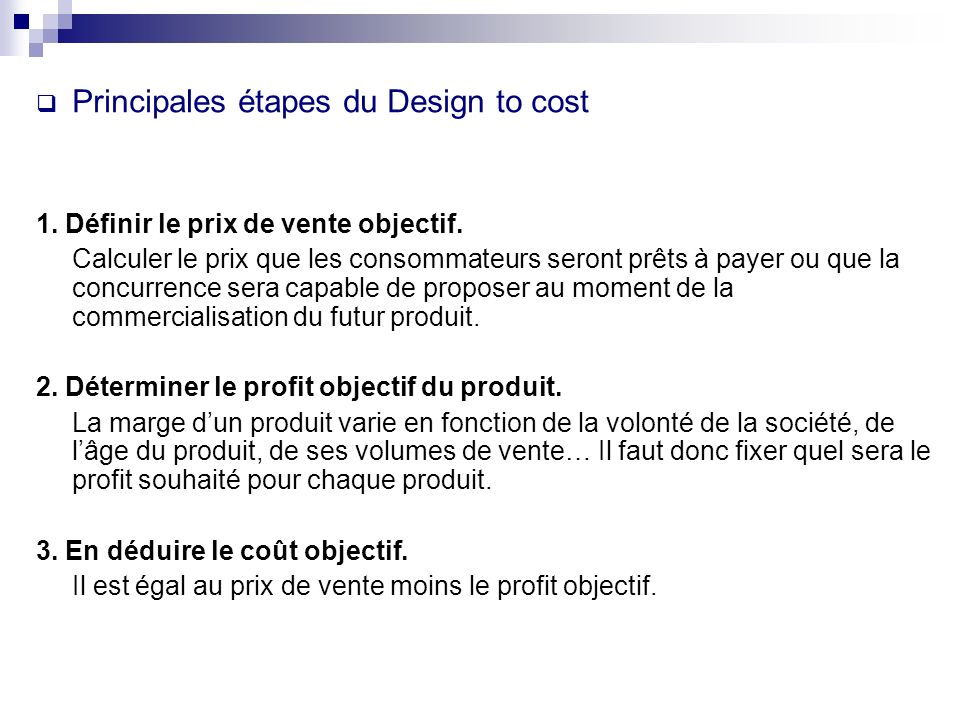 Principales étapes du Design to cost