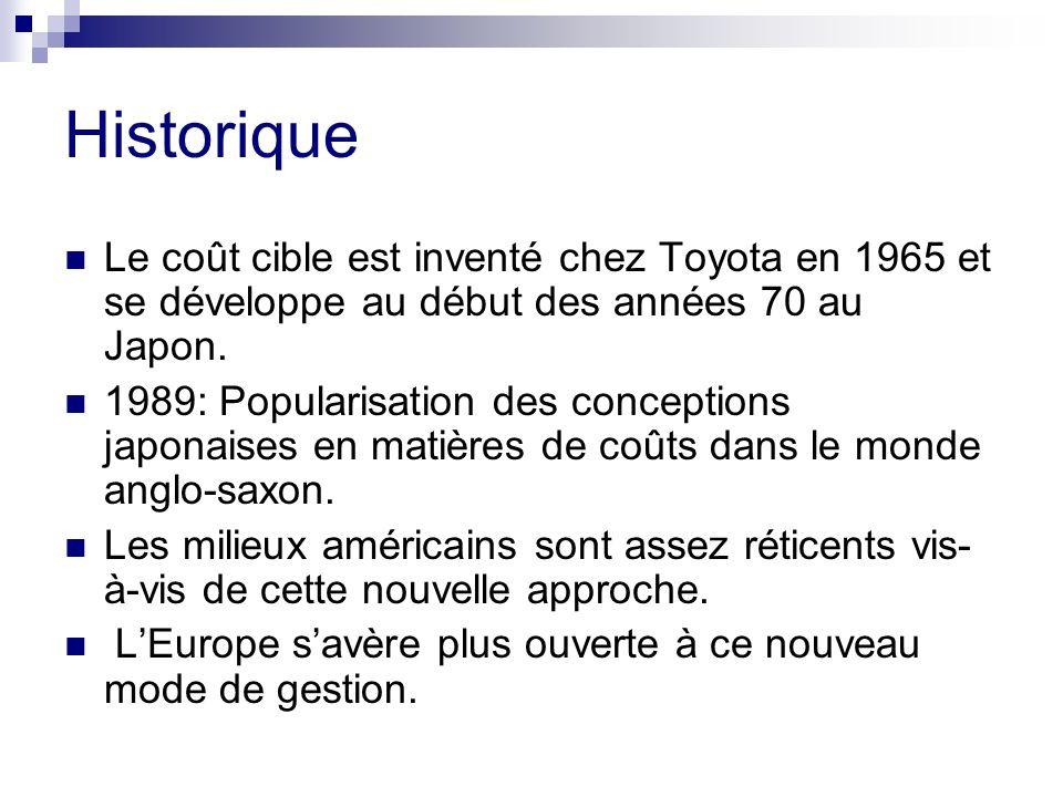 Historique Le coût cible est inventé chez Toyota en 1965 et se développe au début des années 70 au Japon.