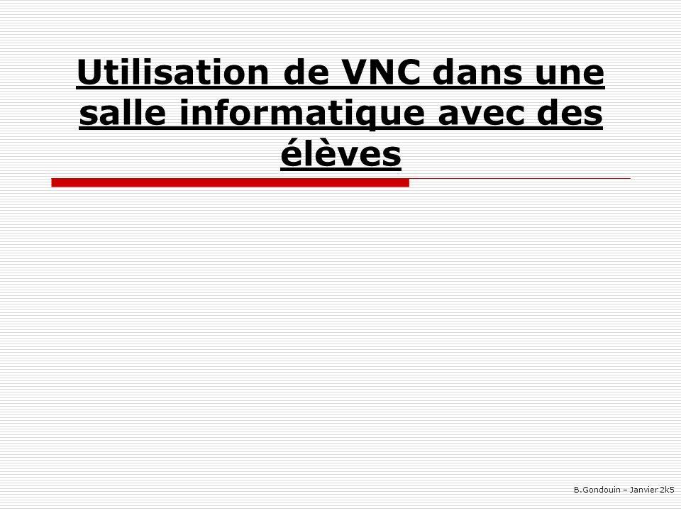 Utilisation de VNC dans une salle informatique avec des élèves